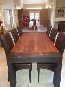 Solid exotic wood Dining room table with 6 leather chairs West Island Greater Montréal image 4
