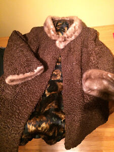 Chocolate brown Persion lamb with beige mink collar and cuffs