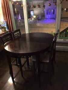 High Top Dining Room Table and four Chairs with Jack Knife Leaf
