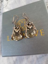 Silver Lilly Crystal flower earrings