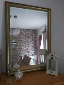 ~ Vintage Bevelled Glass Mirror Heavy Pine Antique Gold Frame