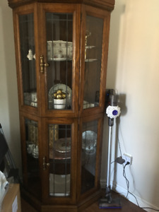 Beautiful Oak Corner China Cabinet