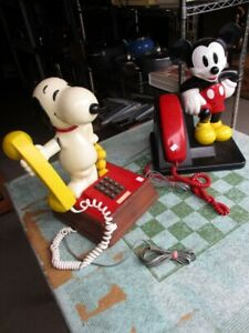 ORIGINAL MICKY MOUSE AND SNOOPY TELEPHONES FROM ESTATE