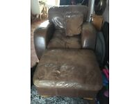 Leather chair and foot stall with cushion - must go by Thursday!!!