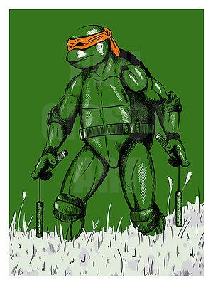 Original Michelangelo TMNT Comic Art Print Poster Teenage Mutant Ninja Turtles