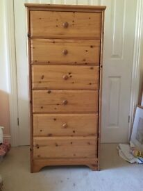 Pine tall boy chest of drawers