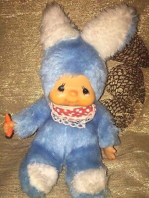 MONCHHICHI Freund Hase blau Monchichi *Rarität* #z10420