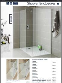 WET ROOM GLASS SHOWER SCREENS. ALL HALF THE DISPLAYED PRICES