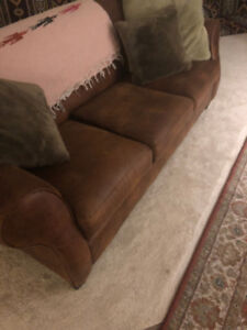 Leather brown couch/sofa