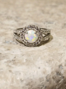 Opal silver ring size 7