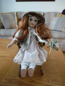 Porcelain Doll with Rocking Chair