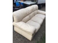 Cream leather sofa, free delivery 30 miles