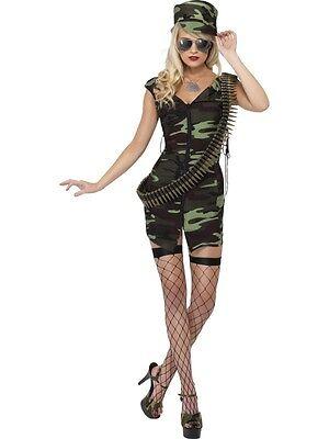 Women's Combat Army Girl Fancy Dress Costume GI Jane Soldier Hen Theme Night - Gi Jane Kostüm