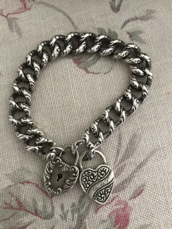Victorian Sterling Padlock Repousse Bracelet