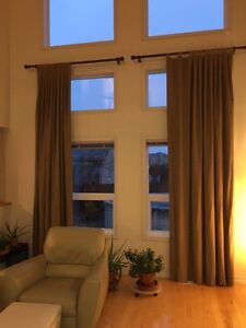 Curtains and rods.  3 sets different sizes, same material