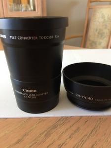 tele-converter Canon TC DC58B 1.5X plus adapter LA DC58E+LH-DC40