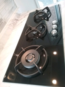 3 BLACK GLASS BURNER GAS STOVE