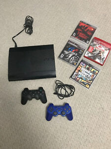PlayStation 3 (PS3) Slim Console, controllers, 4 games