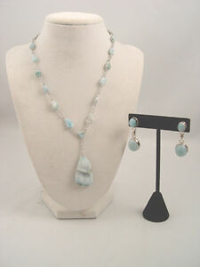 Sterling Silver Larimar Stone Earrings and Necklace set
