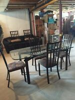 Glass dining set with a BONUS! Eat on a new table this weekend!