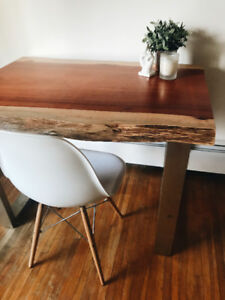 RARE / LIVE EDGE / HAND CRAFTED / NATURAL 2 TONE WOOD DESK
