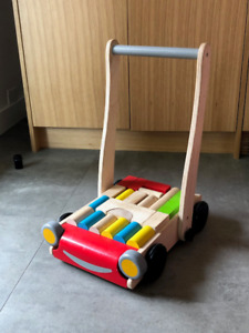 Plan Toys Wood Baby Walker with blocks