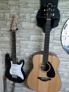 Amp , electric guitar and acoustic