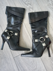 FAITH BLACK SNAKE AFFECT HIGH HEEL BOOTS SIZE 3 USED
