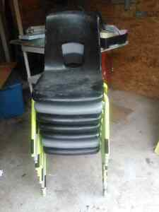 7 steele and plastic chairs heavy duty.
