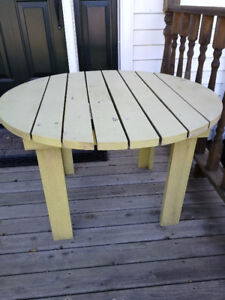 wooden patio table