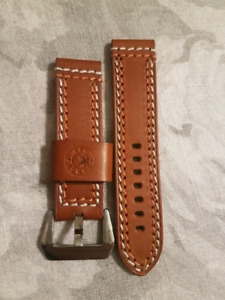 Thick leather strap for Panerai 24mm