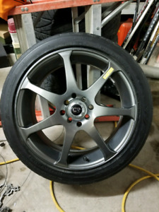 "17"" Core racing rims and Nitto performance tires"