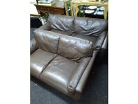 2 X brown leather sofas free delivery