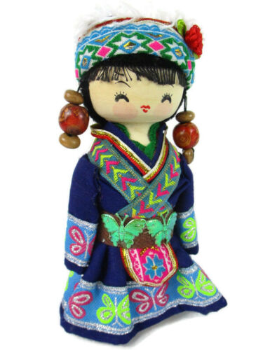 Chinese Wood doll In Costume Ethnic Minority Cartoon / Hand Made China