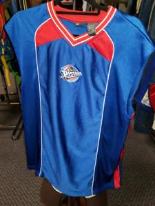 Blue silk satin Detroit Piston NBA shirt - size Large