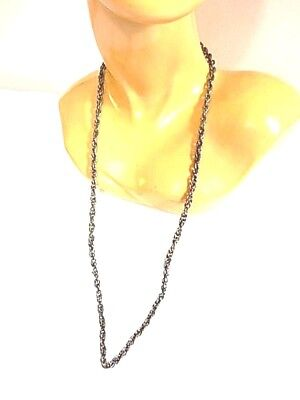 Nos Vintage 1970s Silver Tone Metal Rope Chain Necklace Disco Retro Fashion
