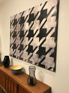 Houndstooth Mid Century Modern Large Canvas Wall Art