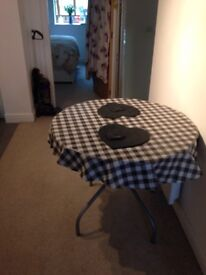 Metal/wood table and four chairs