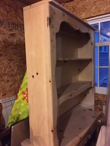 Gorgeous pine desk and book shelf with chair