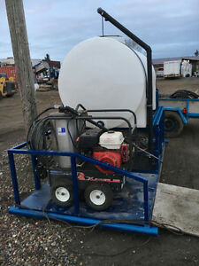 Pressure Washer and water tank on skid