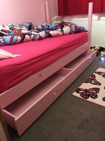 2 girls beds with drawers
