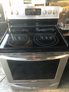 frigidaire stainless glass top stove
