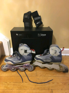 Women's size 7 rollerblades and wristguards