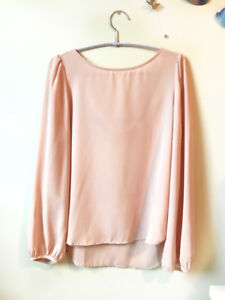 Tobi Blush Pink Blouse, cute cut out back, size small or medium
