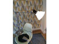 Angle poise desk lamp. Genuine. Type 1228. Ice white shade + base + wall bracket.
