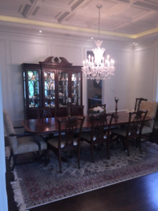 ETHAN ALLEN DINING SET- 8 Chairs/2 Leaf/2 Upulstered End Chairs
