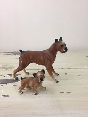 VTG DOG FIGURINES - Boxer & Pup, Plastic Hollow, Home Decor, Antique Toys CUTE!](Plastic Dog Figurines)