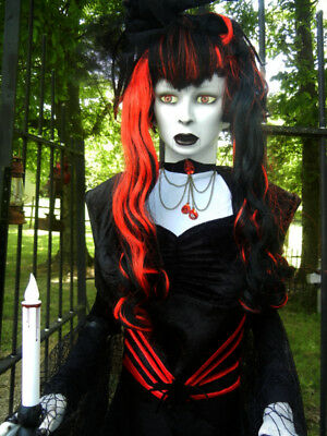 ANIMATED 6 FOOT BLACK WIDOW LADY OF THE NIGHT w/ LIGHTED CANDLE  HALLOWEEN PROP](Light The Night Halloween)