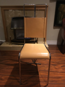 Modern Stainless Steel and Leather Dining Room Chairs- Set of 8