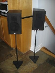 PSB bookshelf speakers and stands
